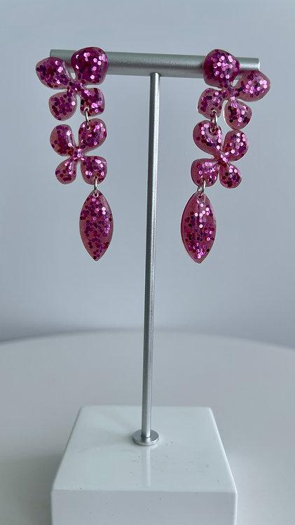 Pink Magenta Flower Glitter Resin Earrings with Sterling Silver