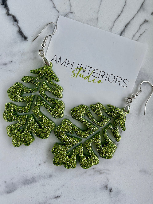 Chartreuse Glitter Resin Earrings