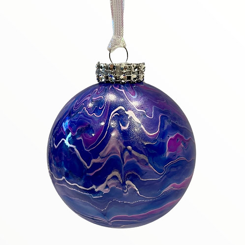 Front View of Purple Marble Glass Ornament with Rhinestone Trim