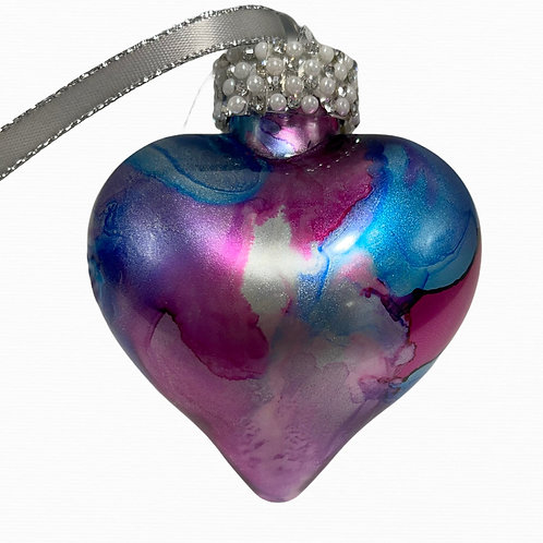Front View Pink and Blue Alcohol Ink Heart Ornament | AMH Interiors Studio