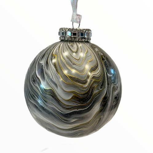 Front View Grey, White and Gold Metallic Glass Ball Ornament