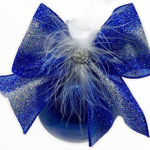 Blue Glitter Glass Ball Ornament with a Faux Fur Bow