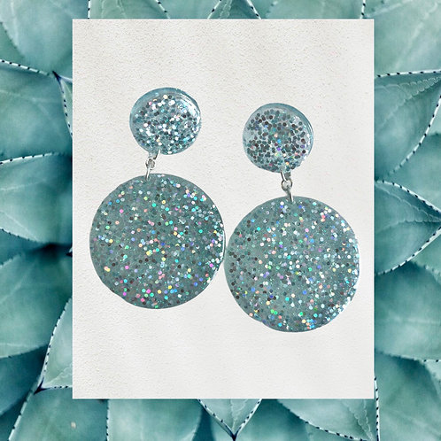 Teal Green and Silver Glitter Round Shape Resin Earrings with Sterling Silver