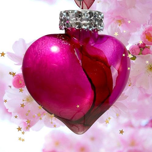 Decorative View Hot Pink Alcohol Inks Heart Ornament | AMH Interiors Studio