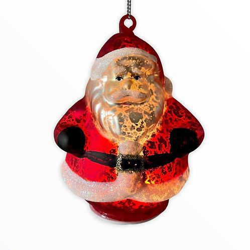 Mercury Glass Light Up Santa Claus Ornament
