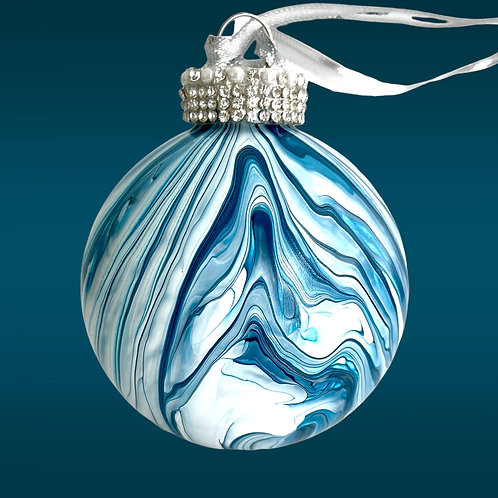 Shades of Blues and White Glass Ornament