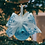 Christmas Tree View Aqua and Silver Glitter Glass Ball Ornament with Faux Fur