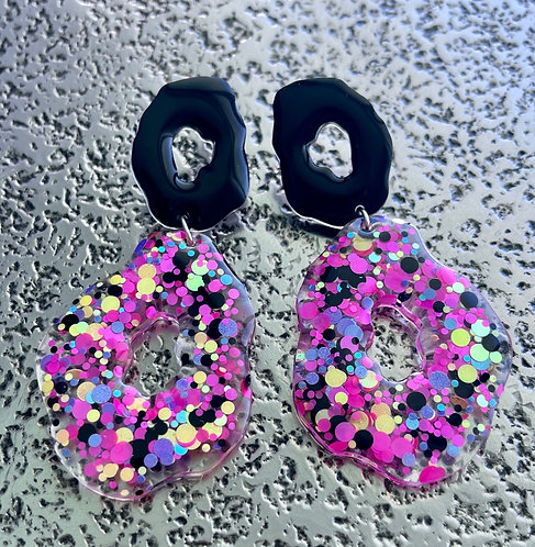 Black Drop Resin Earrings with Bright Colorful Dots