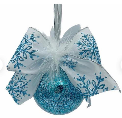 Aqua and Silver Glitter Glass Ball Ornament with Faux Fur