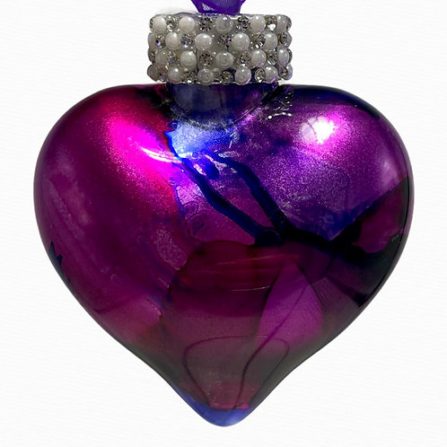 View Magenta Alcohol Inks Heart Ornament | AMH Interiors Studio