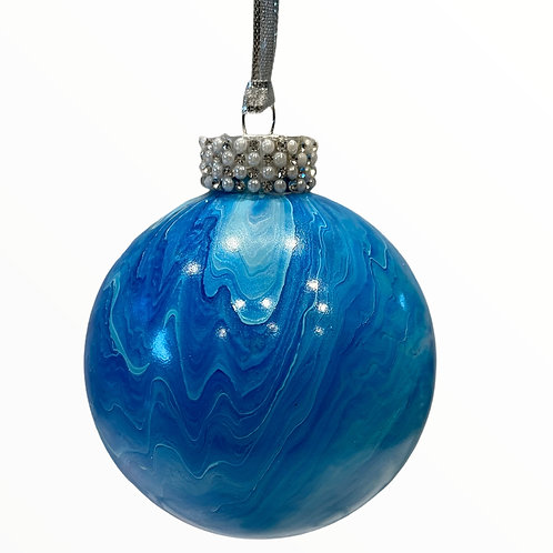 Shades of Blue and Silver Metallic painted Glass Ball Ornament