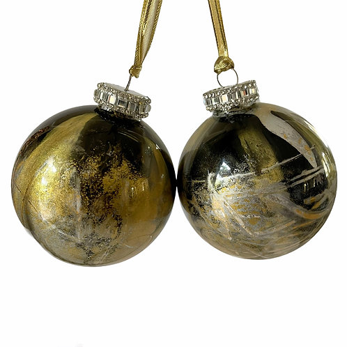 Front View of 2- Black, Gold and Silver Metallic Glass Ball Ornaments