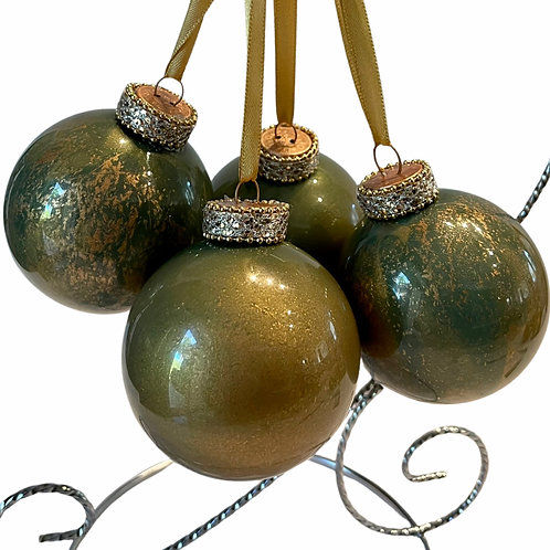 Front View of 4- Green Copper Metallic Glass Ornaments