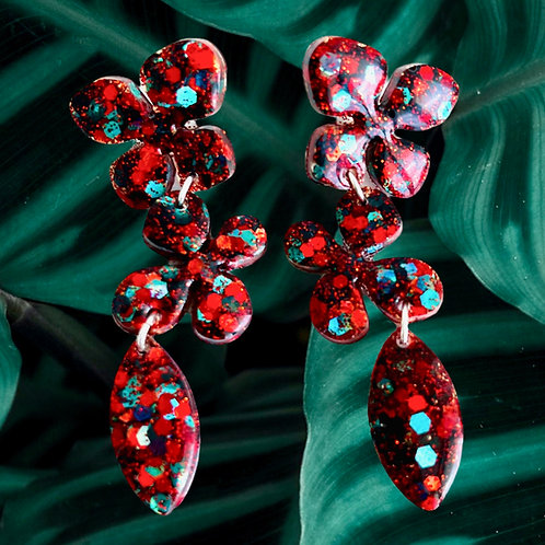 Blue-Green, Red, Black Glitter Flower Resin Earrings with Sterling Silver