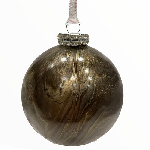 Front View of X- Large Modern Bronze and Silver Glass Ball Ornament