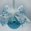 Front View Aqua and Silver Glitter Glass Ball Ornament with Faux Fur