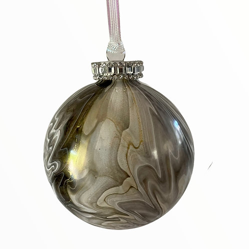 Front View Grey, White and Gold Metallic Painted Glass Ball Ornament