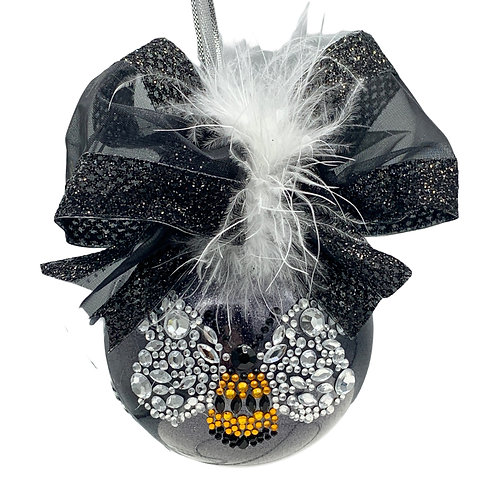 Black Glitter Glass Black Ball with a Large Bumble Bee Rhinestone Center