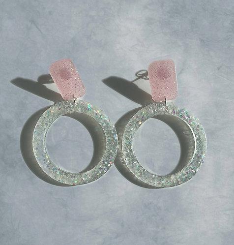 Clear and Pink Glitter Hoop Earrings
