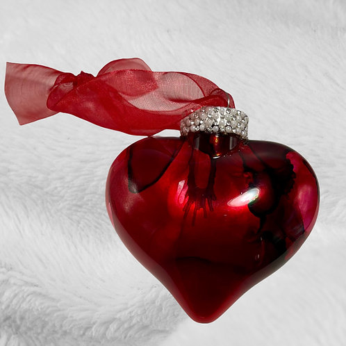 Decorative View Red Alcohol Inks Heart Ornament | AMH Interiors Studio