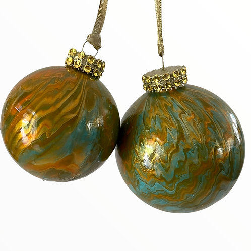 Both Set of 2- Glass Ornaments in Orange, Copper and Turquoise