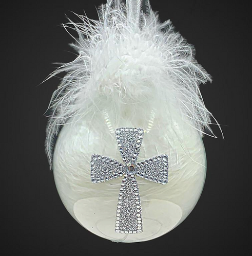 Front View Rhinestone Cross Glass Ball Ornament with Faux Fur