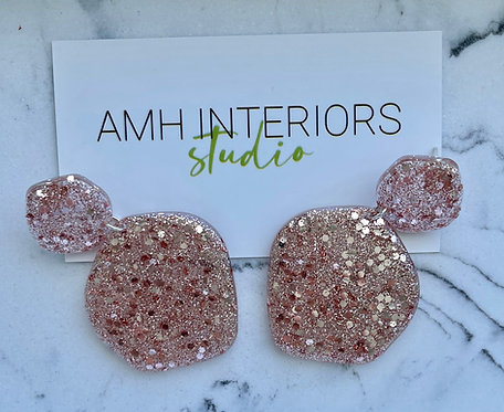 Rose Gold Glitter Resin Earrings with Sterling Silver