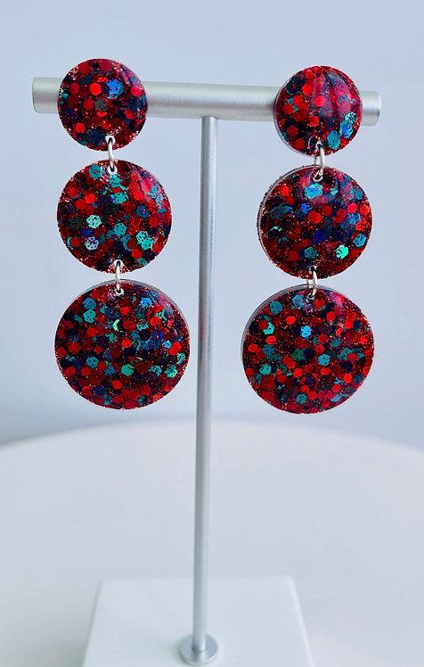 Resin Sterling Silver Earrings with Blue-Green, Red, Black Hexagon Glitter