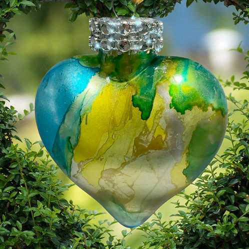 View Turquoise Alcohol Inks Heart Ornament | AMH Interiors Studio