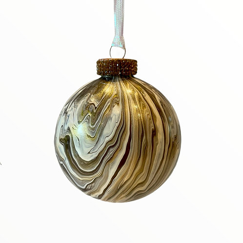 Front View for Bronze and Gold Metallic Painted Glass Ball Ornament