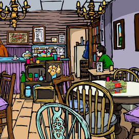 a chintzy cafe