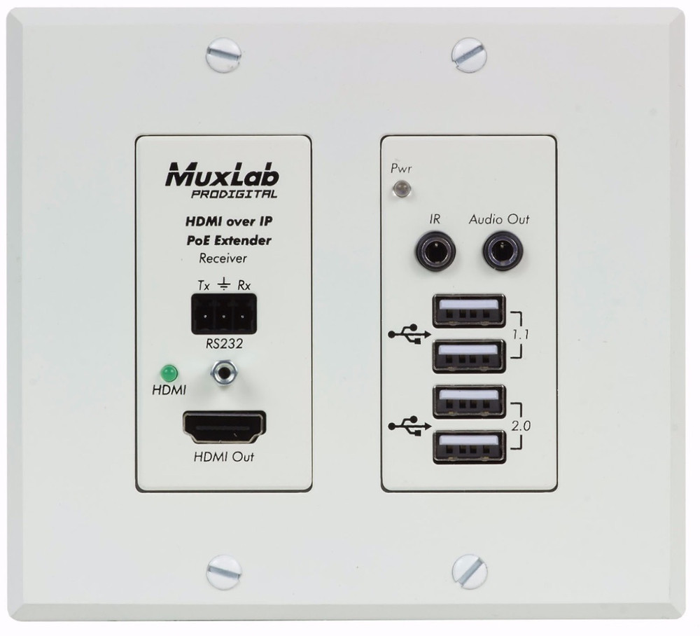 MuxLab's new wall plate receiver supports 4K video and USB devices