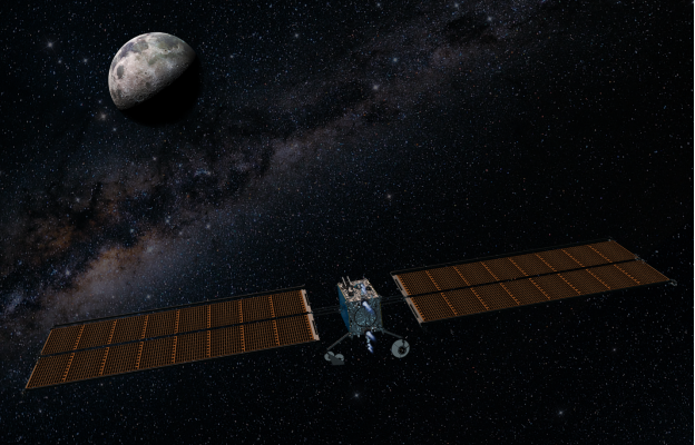 An artist's impression of the Power and Propulsion Element approaching the Moon. Image: Maxar