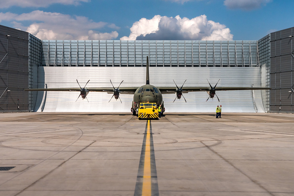 A Lockheed Martin C-130 Hercules getting ready for engine test
