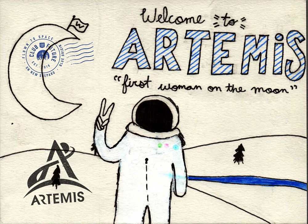 Blue Origin's nonprofit Club for the Future postcard including a special NASA Artemis stamp
