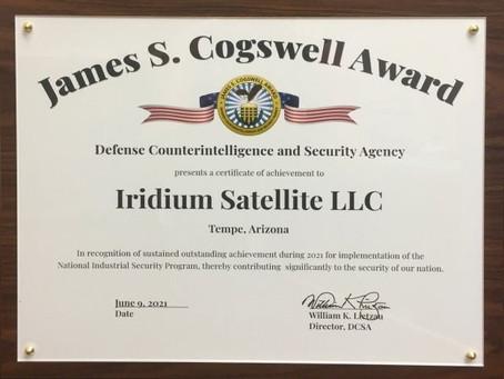 Iridium receives 2021 James S. Cogswell Outstanding Industrial Security Achievement Award