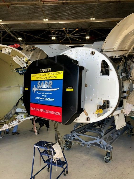 Northrop Grumman's APG-83 radar being installed in an Air National Guard's F-16 at Joint Base Andrews, Maryland. (U.S. Air Force photo/released)