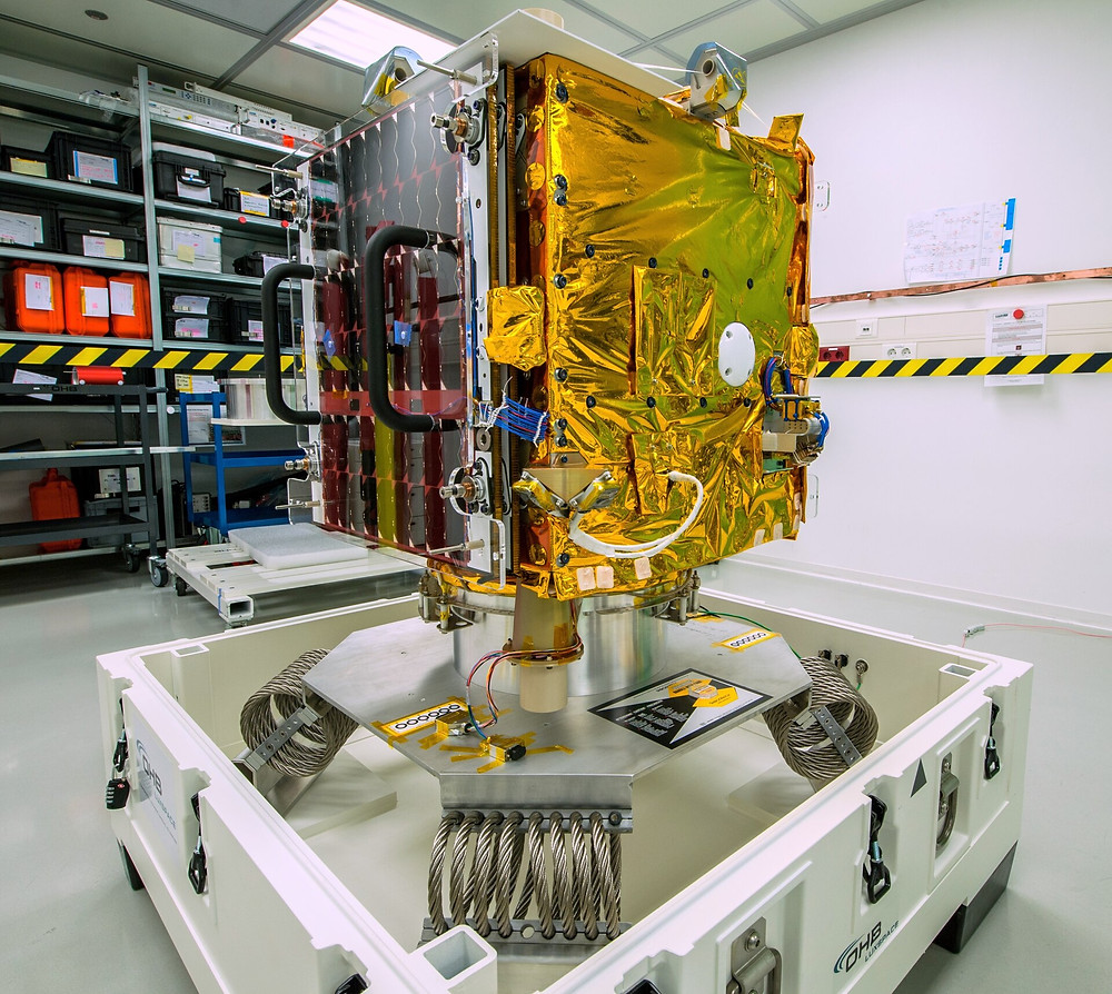 ESAIL maritime satellite ready to ship to launch site pillars