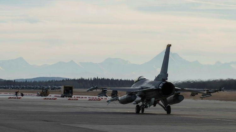 A U.S. Air Force F-16 Fighting Falcon taxis down the runway during exercise RED FLAG-Alaska 19-1, at Eielson Air Force Base, Alaska. Pilots at Misawa AFB in Japan join live Red Alaska from virtual cockpits. (U.S. Air Force photo by Airman 1st Class Collette Brooks)