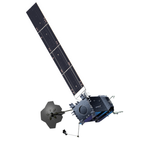 Dragonfly assembles the Restore-L spacecraft's antenna while on-orbit. Image: Maxar