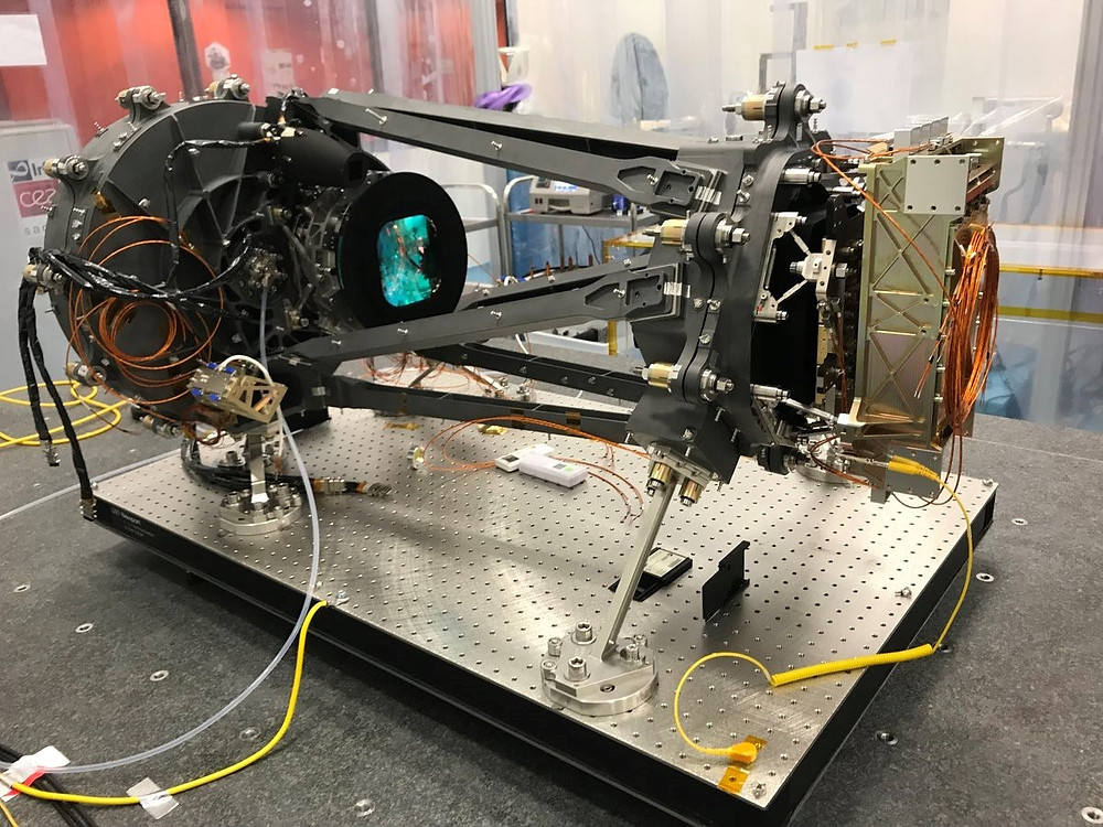The fully assembled flight model of ESA's Euclid mission's NISP instrument in the cleanroom at the Laboratoire d'Astrophysique de Marseille (LAM) before being wrapped in Multi-Layer Insulation (MLI)