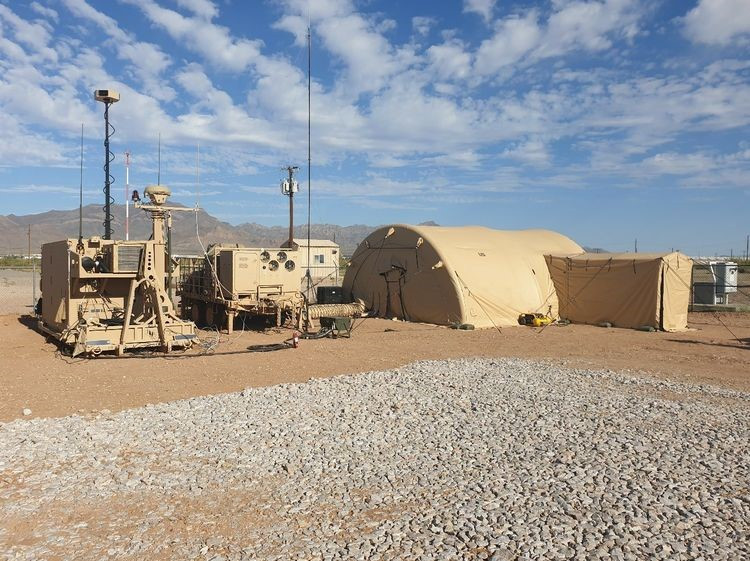 A Northrop Grumman produced Engagement Operations Center (EOC) and Interactive Collaborative Environment (ICE) emplaced at White Sands Missile Range, New Mexico for the IBCS Limited User Test. [Source U.S. Army]