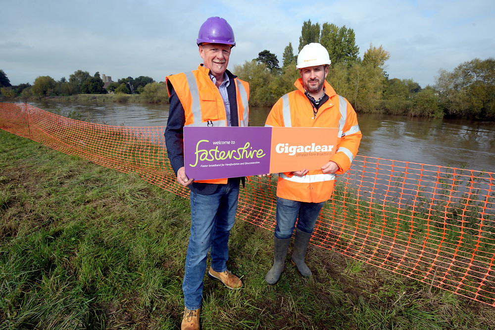 (L-R) Councillor Patrick Molyneux, Cabinet Member for Economy, Education and Skills and responsible for Fastershire with Peter Pentecost, Regional General Manager at Gigaclear