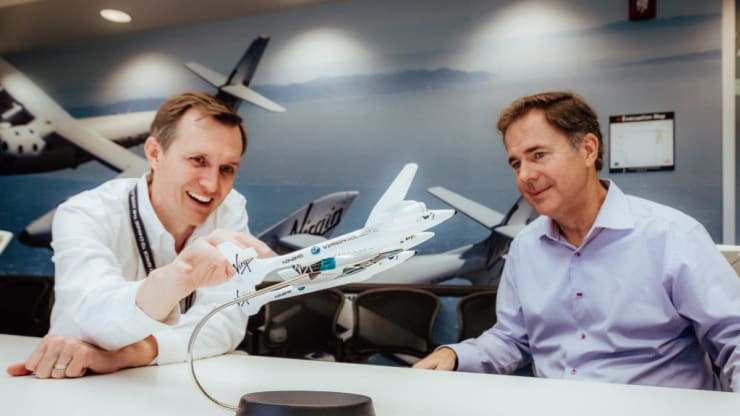 Virgin Galactic's chief space officer George Whitesides, left, and chief executive officer Michael Colglazier