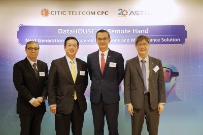 (From the left) Mr. Daniel Kwong, Chief Information and Innovation Officer of CITIC Telecom CPC, Mr. Esmond Li, CEO of CITIC Telecom CPC, Mr. Hugh Chow, CEO of ASTRI and Dr. Lucas Hui, Chief Technology Officer of ASTRI