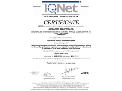 Santander Teleport achieves ISO 27001 certification