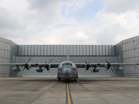 Red, white and blue letter day for Marshall as first KC-130J completes maintenance interval