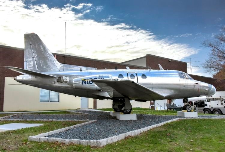 Northrop Grumman's Silver Sabreliner that was modified to carry F-16 radars went on display at the National Electronics Museum in Linthicum, Maryland on Nov. 10, 2019. Source: Northrop Grumman