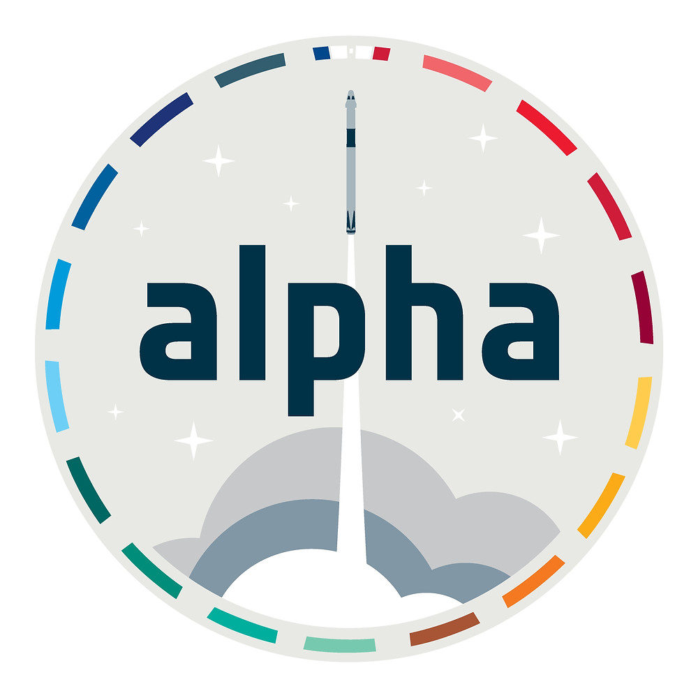 The Alpha patch was designed by ESA's graphic artists, and features a rocket launch – the   M​​ most dramatic moment of every space mission. Around the patch are 17 coloured slots representing the United Nations Sustainable Development Goals