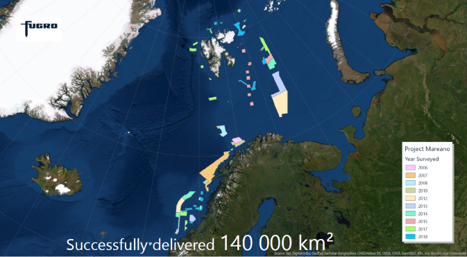 Fugro has already completed 10 surveys and acquired over 140 000 km2 of data for Norway's MAREANO mapping programme since 2006